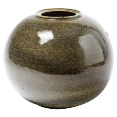 Elegant and Decorative Stoneware Ceramic Vase by JPD circa 1975 Grey and Green