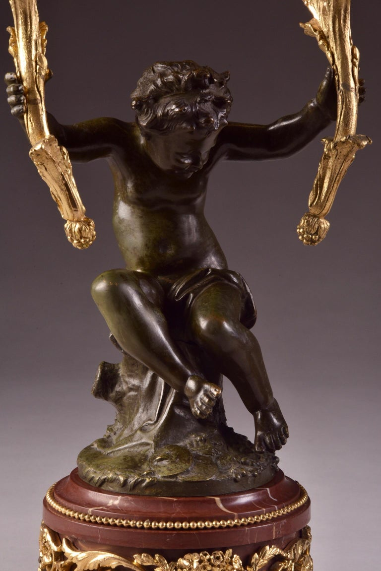 Elegant and Large Cupid 'Houdon' Pendulum, with Candle Sticks 'Clodion' For Sale 2