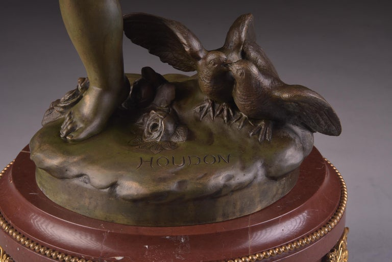 Empire Elegant and Large Cupid 'Houdon' Pendulum, with Candle Sticks 'Clodion' For Sale