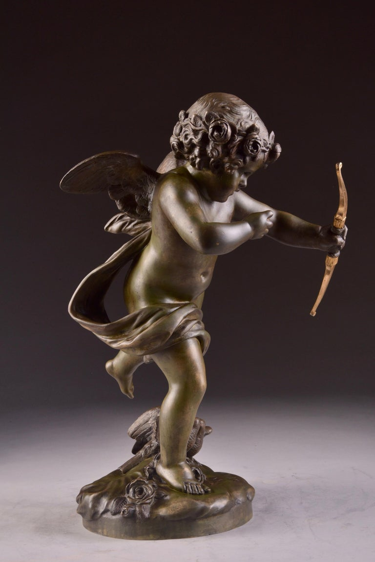 Elegant and Large Cupid Pendulum, Houdon, 'French' In Good Condition For Sale In Ulestraten, Limburg