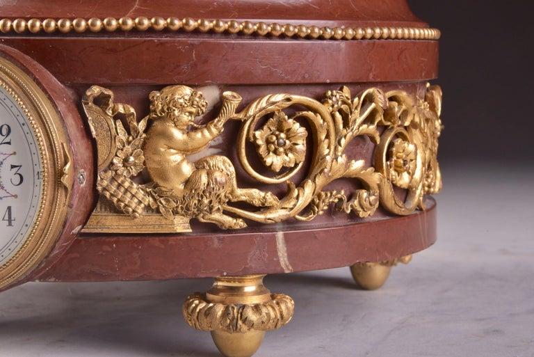 Bronze Elegant and Large Cupid Pendulum, Houdon, 'French' For Sale