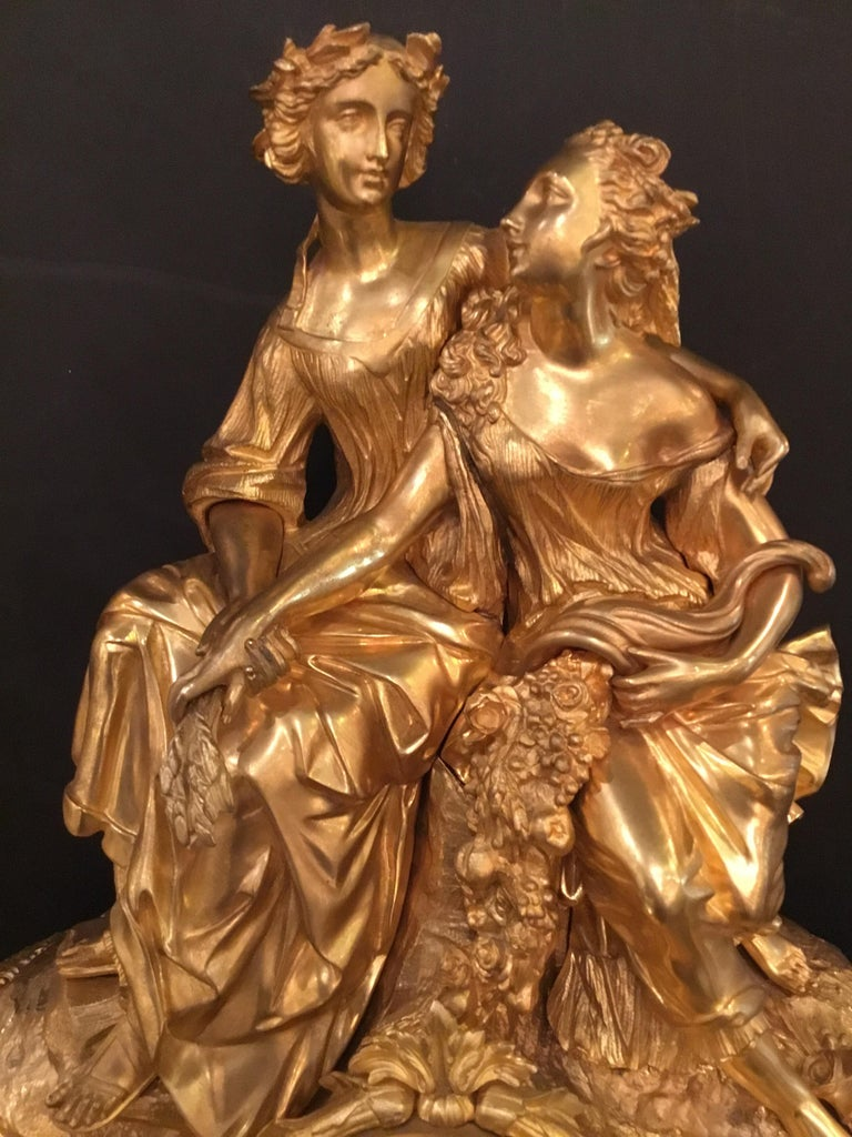 Elegant and Large Gilt Bronze French Clock In Good Condition For Sale In Houston, TX
