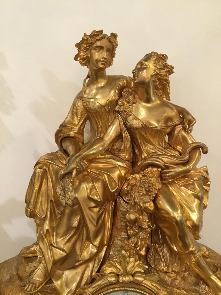 Elegant and Large Gilt Bronze French Clock For Sale 2