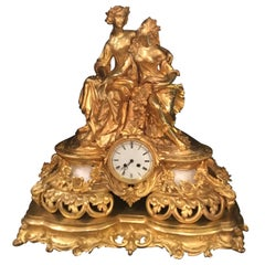 Elegant and Large Gilt Bronze French Clock