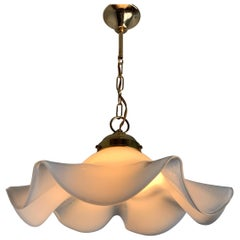 Elegant and Organic Design Mid-Century Modern Opaline Glass-Art Pendant Light