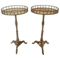 Elegant and Rare Pair of Brass Faux Bamboo Martini Tables