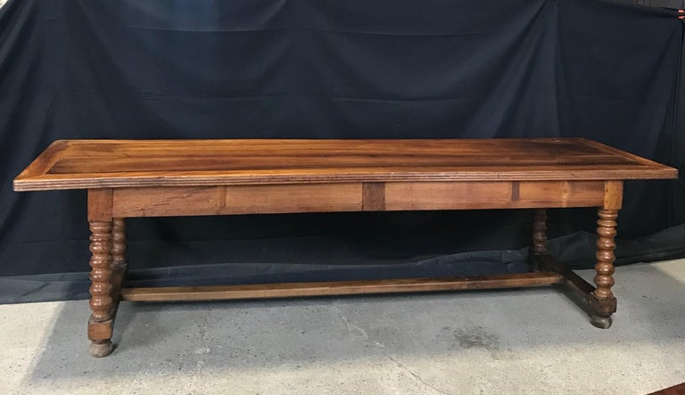Elegant and Roomy Antique French 19th Century Walnut Dining Table For Sale 2