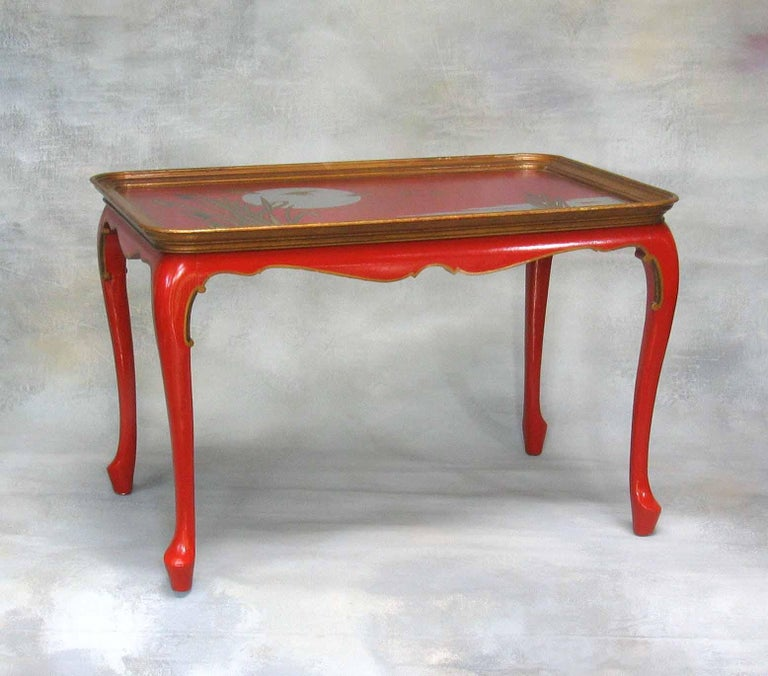 Elegant and Striking Japanned Tray or Cocktail Table French, Mid-20th Century For Sale 1