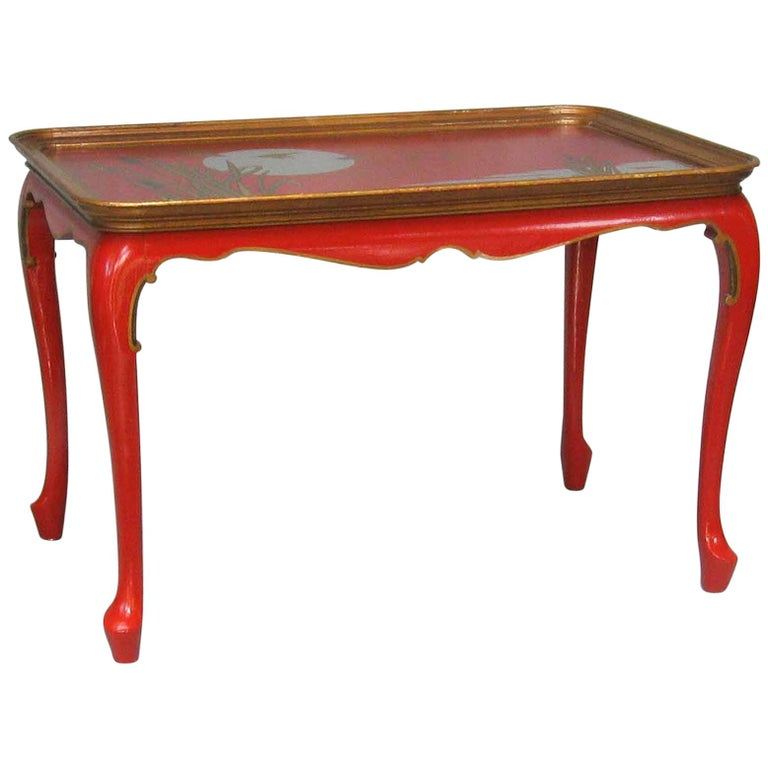 Elegant and Striking Japanned Tray or Cocktail Table French, Mid-20th Century For Sale