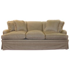 Elegant and Very Comfortable Bridgewater Style Sofa in Off-White Linen