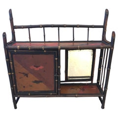 Elegant Antique Bamboo Chinoiserie Hanging Shelf Etagere
