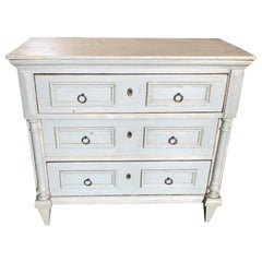 Elegant Antique Blue Grey Swedish Chest of Drawers