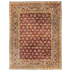 Elegant Antique Indian Agra Rug in Maroon Red Background and Gray Green Border