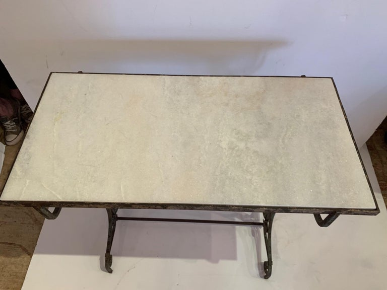 Elegant Antique Iron and Marble Small Bistro Table Console For Sale 5