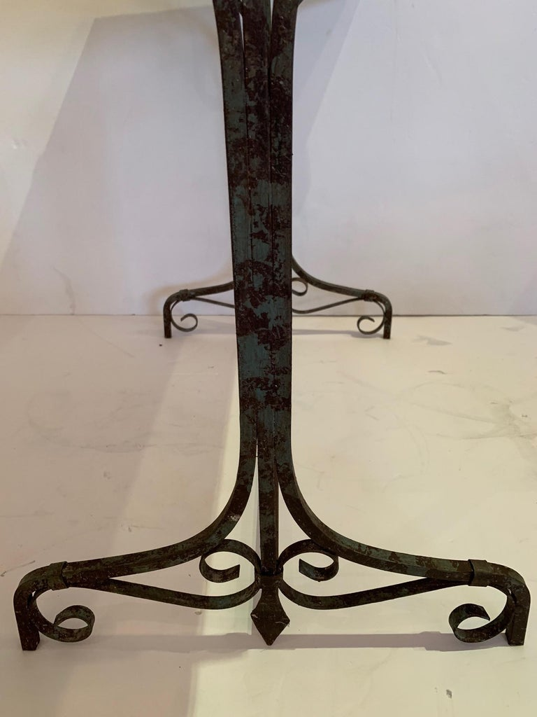 Elegant Antique Iron and Marble Small Bistro Table Console For Sale 6