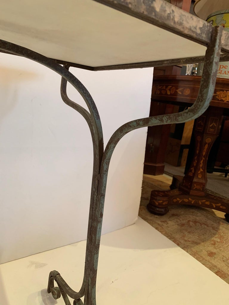Elegant Antique Iron and Marble Small Bistro Table Console For Sale 7