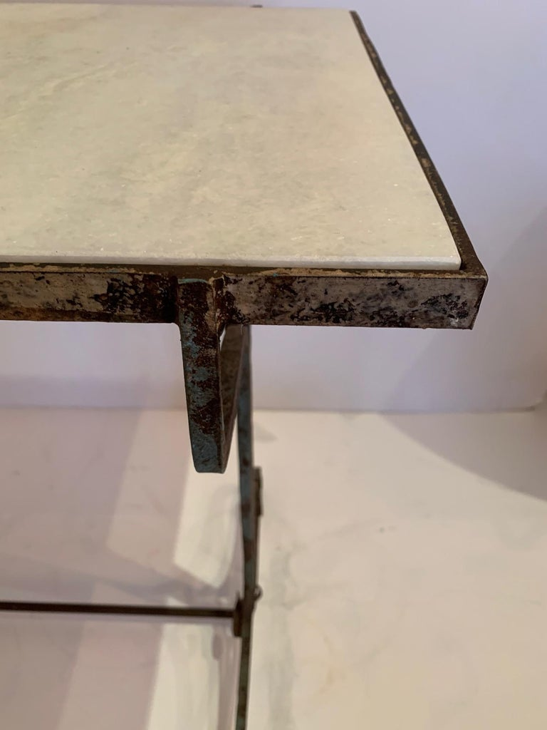 Early 20th Century Elegant Antique Iron and Marble Small Bistro Table Console For Sale