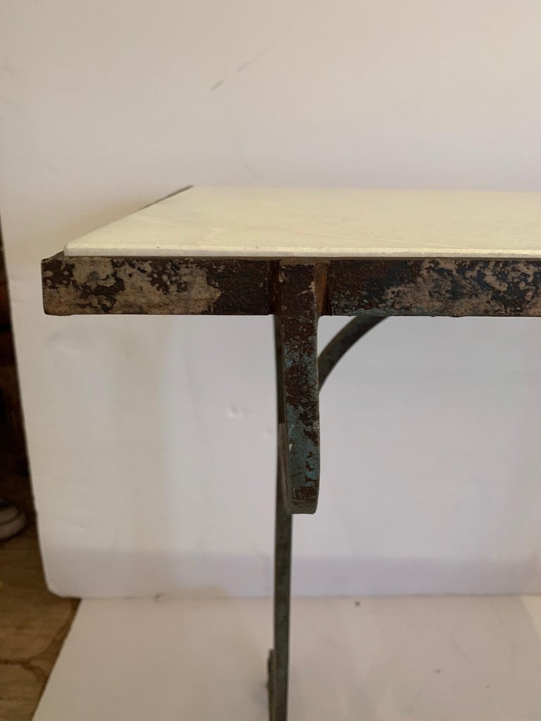 Elegant Antique Iron and Marble Small Bistro Table Console For Sale 2
