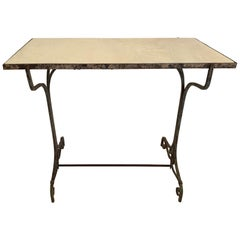 Elegant Antique Iron and Marble Small Bistro Table Console