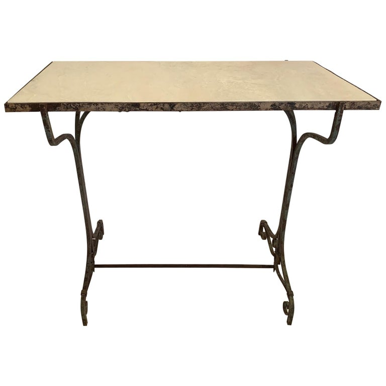 Elegant Antique Iron and Marble Small Bistro Table Console For Sale