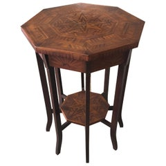 Elegant Antique Octagonal Side End Table with Inlaid Starburst Design