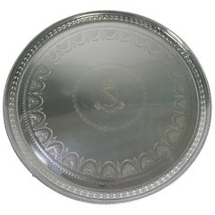 Elegant Antique Victorian Silver Plated Drinks Tray or Salver, 1877
