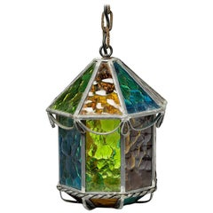 Elegant Architectural Glass Lantern, circa 1960, French Design
