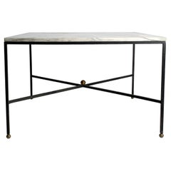 Elegant Architectural Mid-Century Modern Italian Iron and Marble Coffee Table