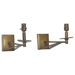 Elegant Arm Wall Sconces Patinated Bronze, Mid-Century Modern