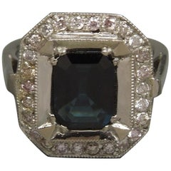 Elegant Art Deco 2.85 Carat Sapphire and Pink Diamond Ring