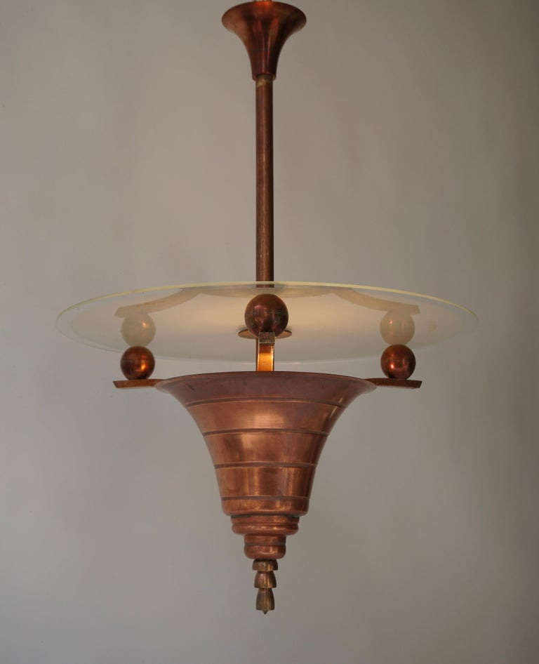 Hollywood Regency Elegant Art Deco Copper Pendant Chandelier For Sale