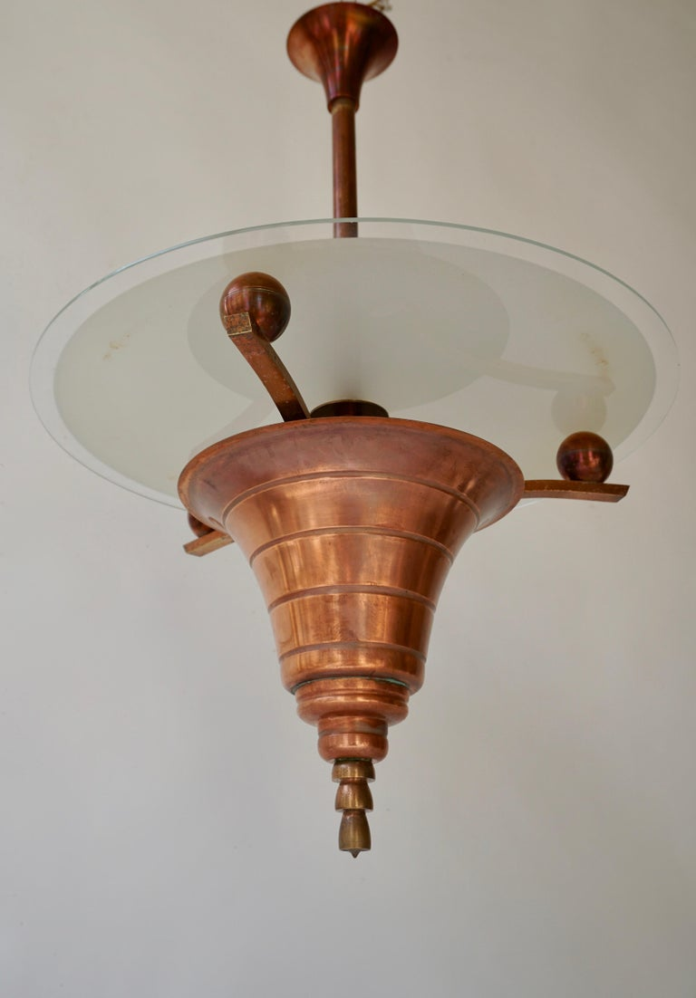 Italian Elegant Art Deco Copper Pendant Chandelier For Sale