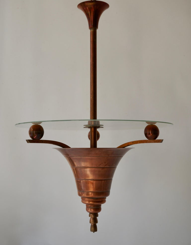 Elegant Art Deco Copper Pendant Chandelier In Good Condition For Sale In Antwerp, BE