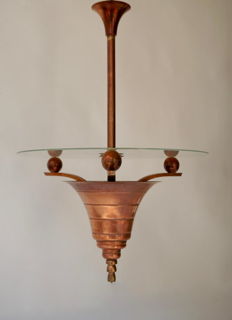 20th Century Elegant Art Deco Copper Pendant Chandelier For Sale