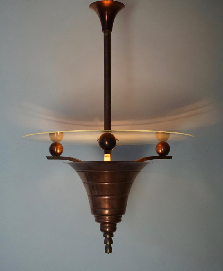 Elegant Art Deco Copper Pendant Chandelier For Sale 1