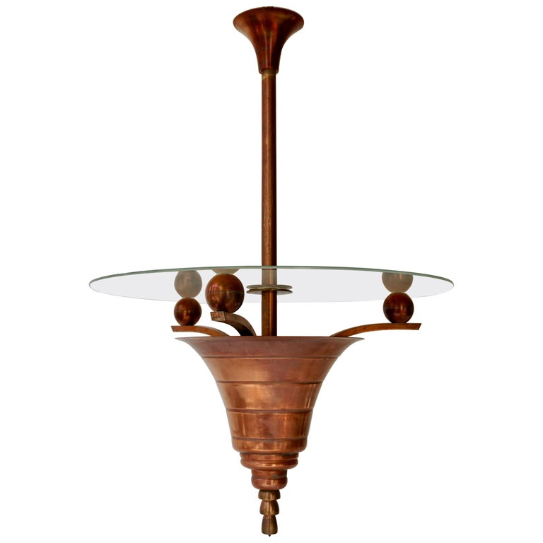 Elegant Art Deco Copper Pendant Chandelier For Sale
