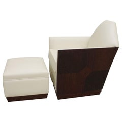 Elegant Art Deco Lounge Chair and Ottoman in Leather