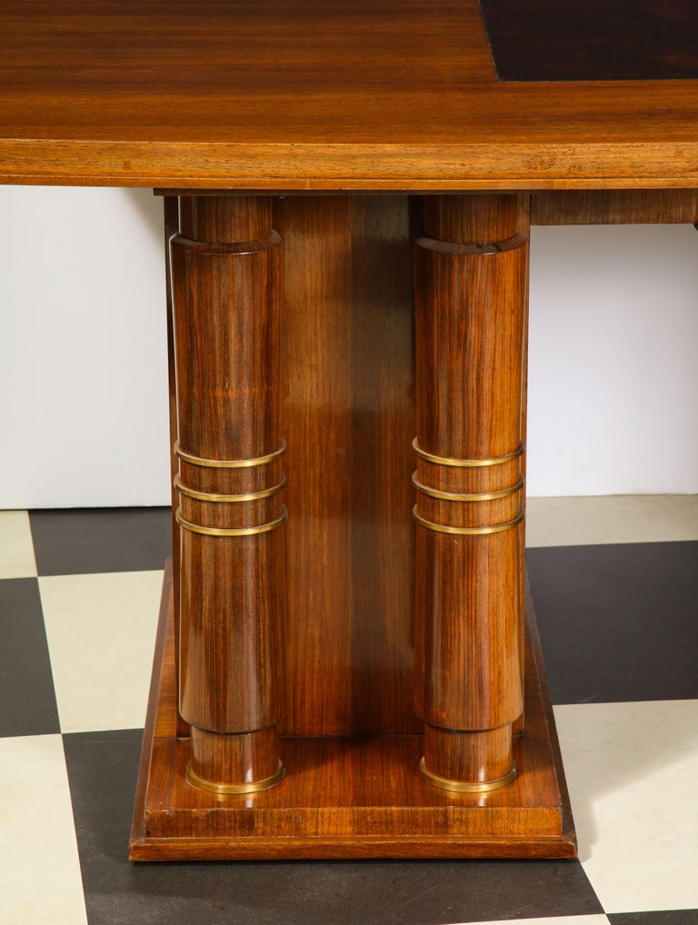 Elegant Art Deco Mahogany and Gilt Bronze Desk by Jules Leleu For Sale 9