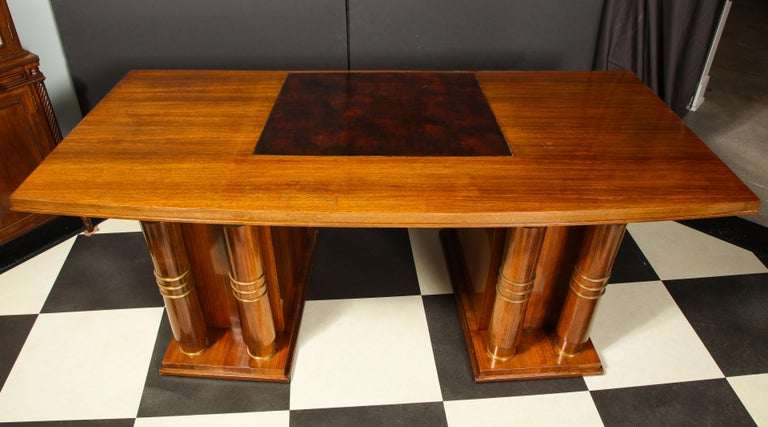Elegant Art Deco Mahogany and Gilt Bronze Desk by Jules Leleu For Sale 14