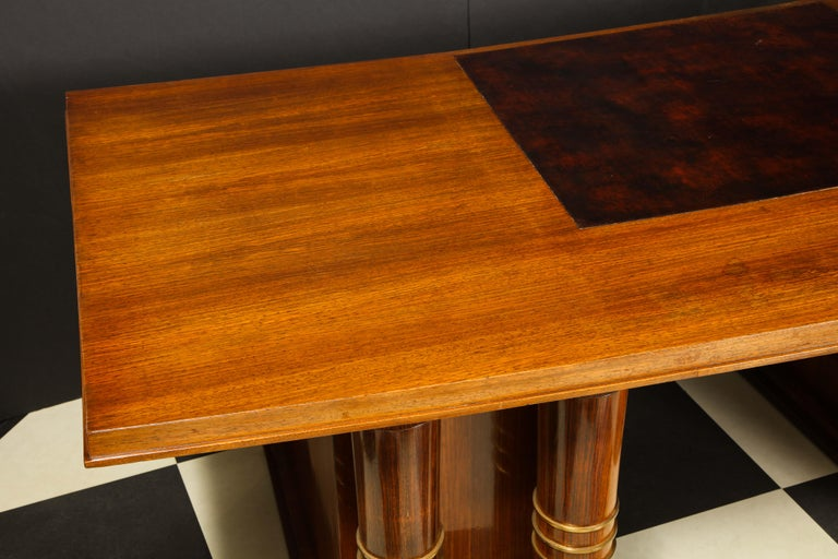 Elegant Art Deco Mahogany and Gilt Bronze Desk by Jules Leleu For Sale 15