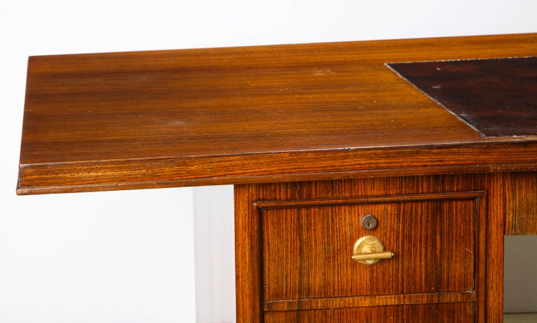 Elegant Art Deco Mahogany and Gilt Bronze Desk by Jules Leleu For Sale 16