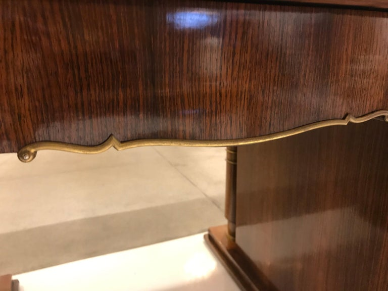 Elegant Art Deco Mahogany and Gilt Bronze Desk by Jules Leleu For Sale 3