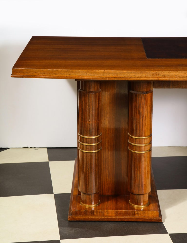 Elegant Art Deco Mahogany and Gilt Bronze Desk by Jules Leleu For Sale 5