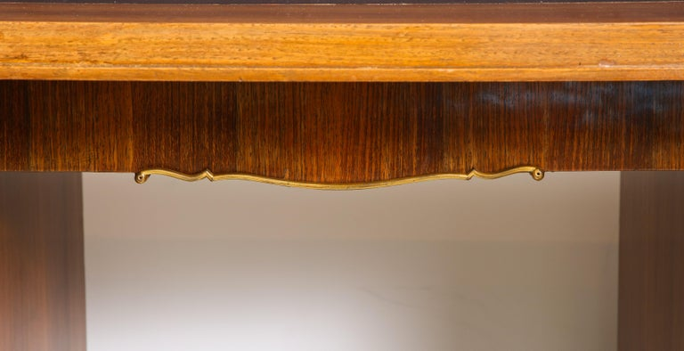 Elegant Art Deco Mahogany and Gilt Bronze Desk by Jules Leleu For Sale 6