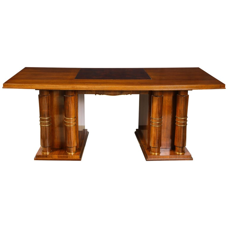 Elegant Art Deco Mahogany and Gilt Bronze Desk by Jules Leleu For Sale