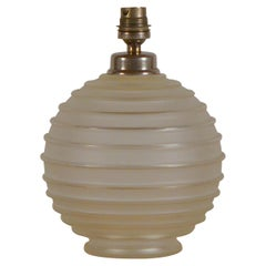 Elegant Art Deco Ribbed Glass Table Lamp by George Leleu