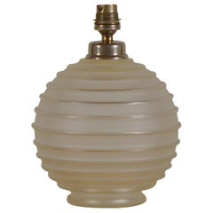 Elegant Art Deco Ribbed Glass Table Lamp by George Leleu
