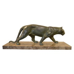 Elegant Art Deco Sculpture of a Panther, Signed M.Leducq