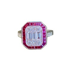 Elegant Art Deco Style Diamond and Ruby Calibre Cut 18 Karat White Gold Ring