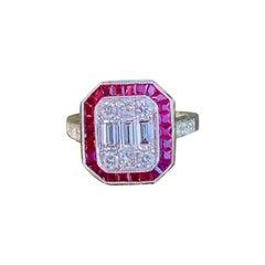 Elegant Art Deco Style Diamond and Ruby Calibre Cut 18 Karat White Gold Ring